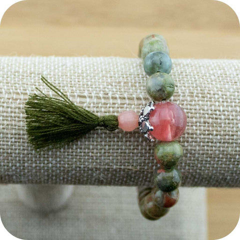 Unakite Mala Bracelet with Cherry Quartz Crystal - Meditative Wisdom