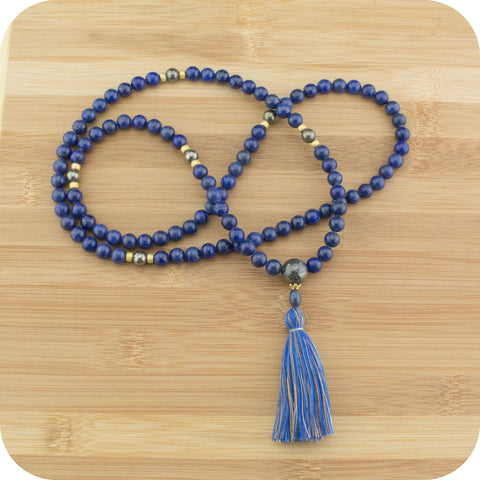 Lapis Lazuli Meditation Mala with Golden Pyrite - Meditative Wisdom