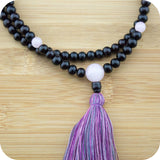 Rosewood Mala with Rose Quartz - Meditative Wisdom