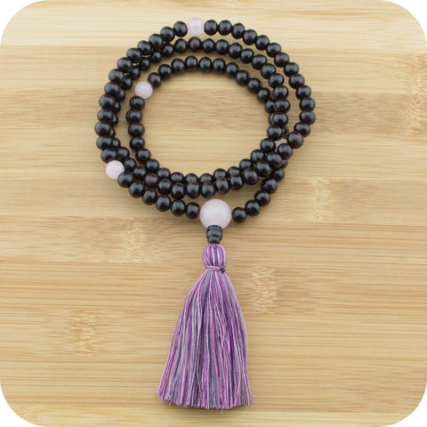 Meditation Mala Beads with Rosewood & Rose Quartz - Meditative Wisdom
