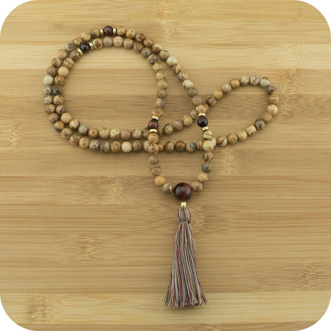 Wood Jasper Mala with Red Tigers Eye - Meditative Wisdom