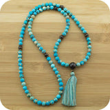 Variscite Meditation Mala Beads Necklace with Bronzite - Meditative Wisdom