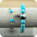 Variscite Wrist Mala Bracelet with Faceted Pyrite - Meditative Wisdom