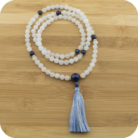 White Jade Meditation Beads Necklace with Lapis Lazuli - Meditative Wisdom