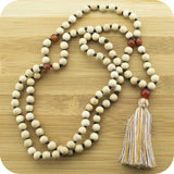 Hand Knotted Whitewood Meditation Mala Beads Necklace with Carnelian - Meditative Wisdom