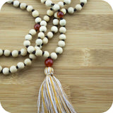 Hand Knotted Whitewood Japa Beads with Carnelian