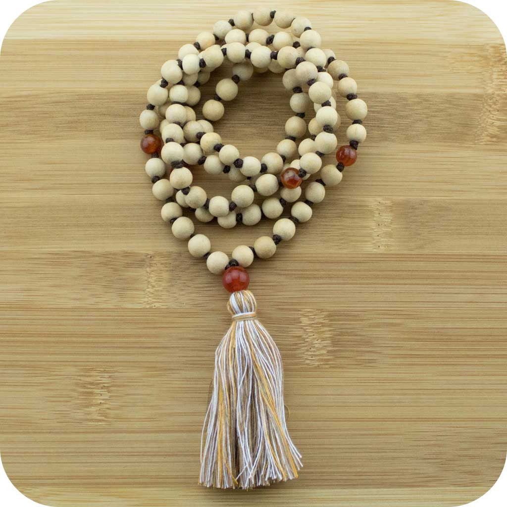 Hand Knotted Whitewood Japa Beads with Carnelian - Meditative Wisdom