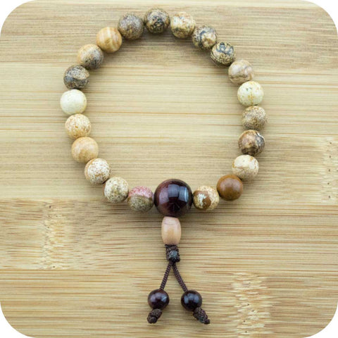 Wood Jasper Wrist Mala Bracelet with Red Tigers Eye - Meditative Wisdom