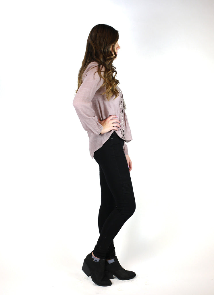 Long-sleeve V-neck Shirt with Square holes