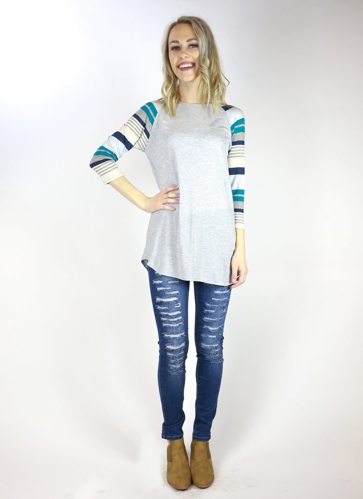 Copy of 3/4 Striped Sleeve Baseball Tee