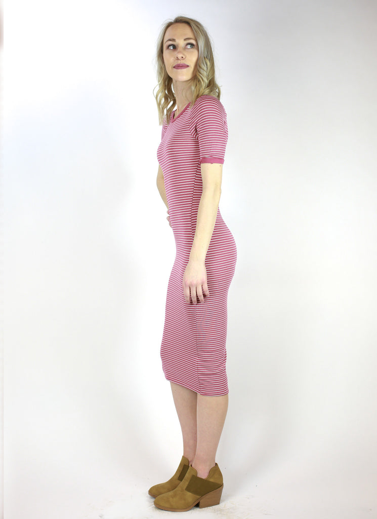 Long Tube Striped Crew Neck Pencil Dress