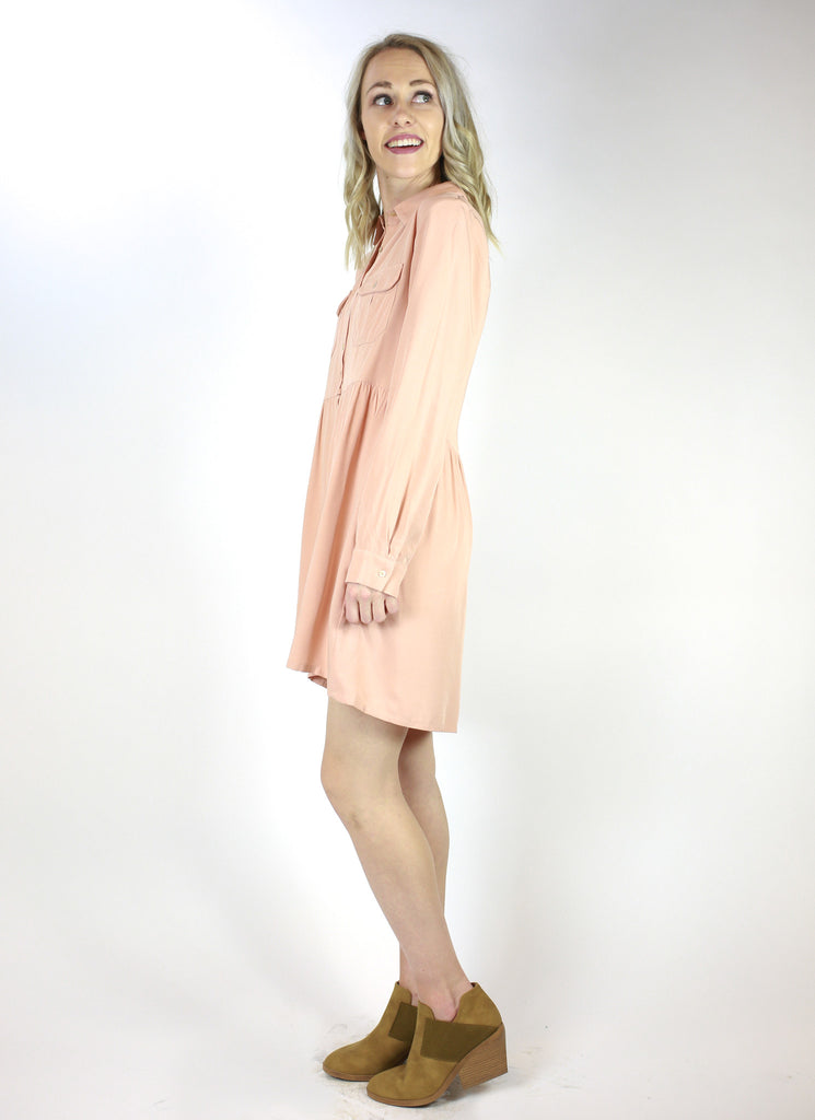 Button Front Shirt Dress with Chest Pockets