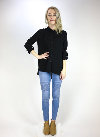 Side-cut Laced Button Down Shirt