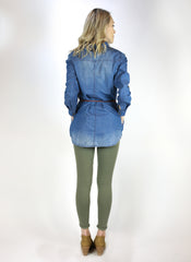 Denim Pull Over Button Shirt with Braided Leather Wrap and Pockets