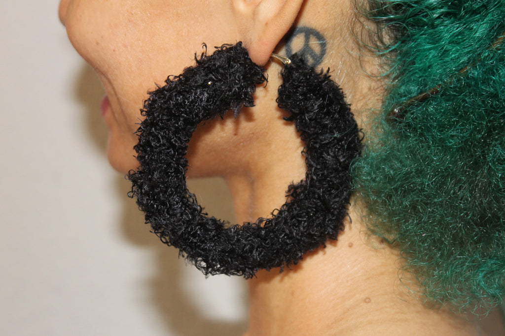 Custom FRB Warm & Fuzzy Hoop Earrings-Black