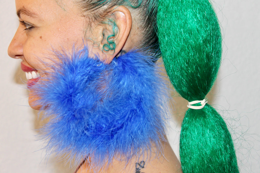Blue Crush Feather Earrings