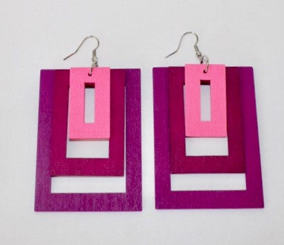 Hollywood Squares Earrings-Pink/Purple