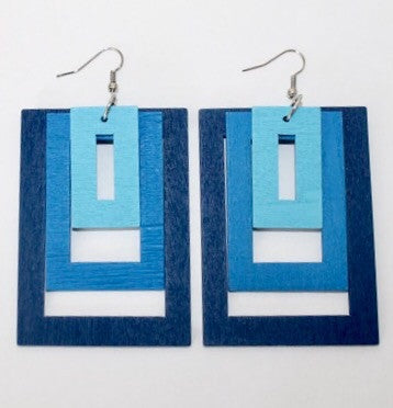 Hollywood Squares Earrings-Blue