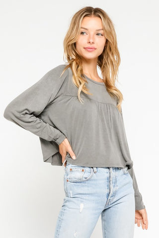 RELAXED LONG SLEEVE CROP TEE