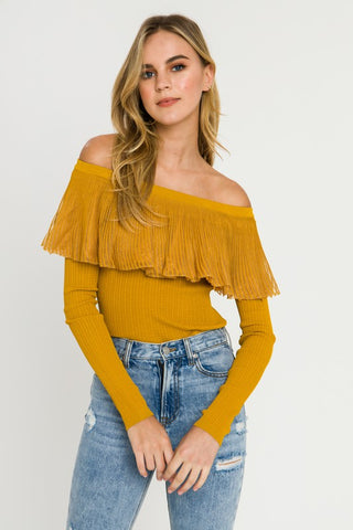 Mustard Ruffle Off Shoulder Top