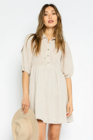 GAUZE PUFF SLEEVE SHIRT DRESS