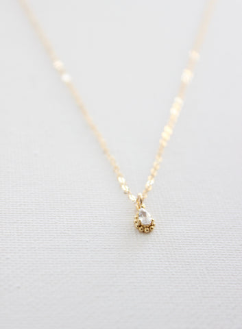 MINI CZ FRAMED TEARDROP NECKLACE