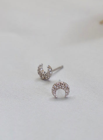 DAINTY PAVE MOON STUDS