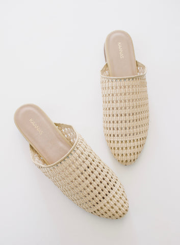 NATURAL BASKETWEAVE MULE