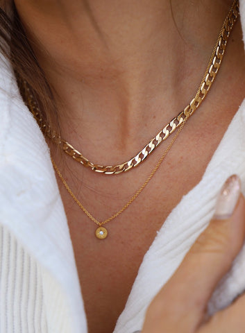 SMALL SMOOTH FLAT MODERN CURB CHAIN NECKLACE