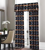 Southwestern Style Curtain Set,  Black