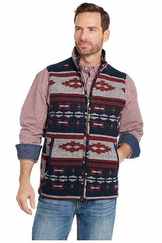 Cripple Creek Zip Front Blanket Vest with Solid Wool Melton Trim Accents