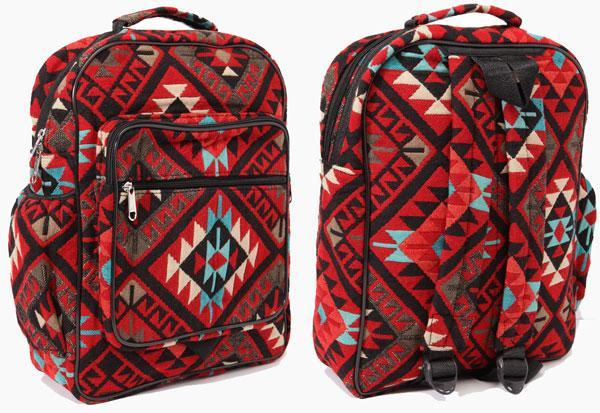 New West Native Style Backpack, Accent Red
