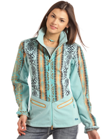 Aztec Printed Softshell Jacket, Blue