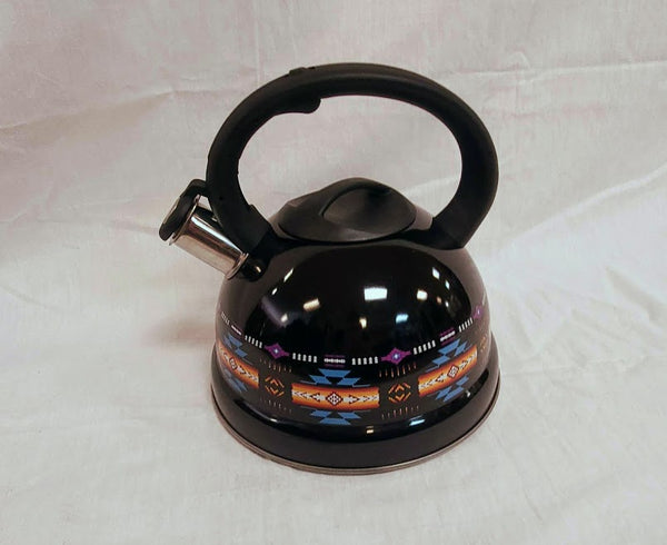 Black tea kettle with southwestern design.