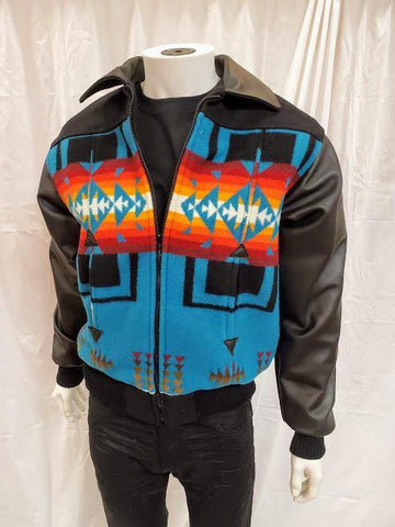 Leather Bomber Jacket, Chief Joseph Turquoise