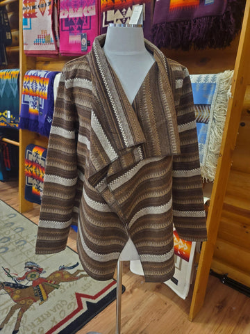 Navajo Open Front Brown Wrap Jacket, Brown