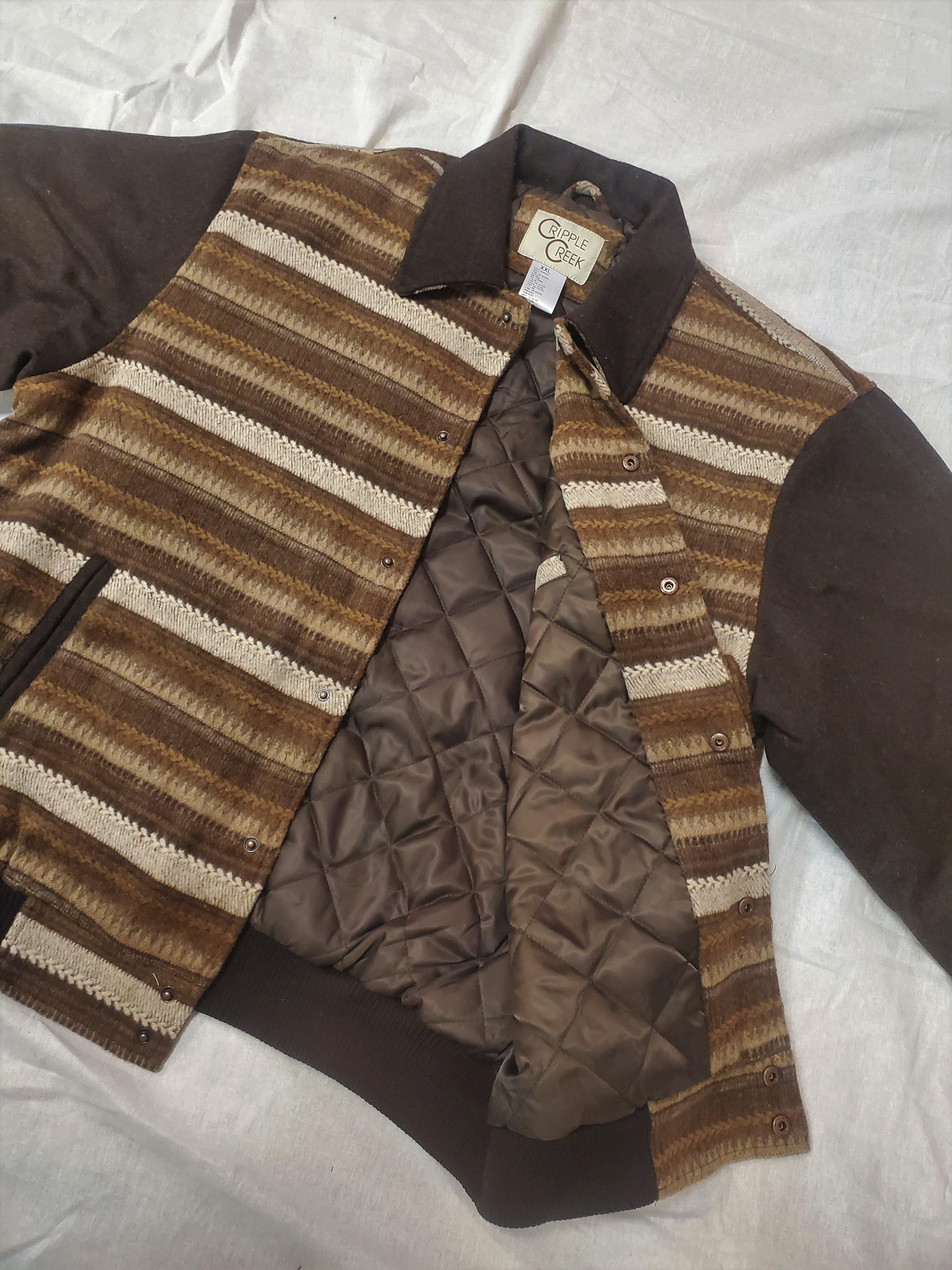 Navajo Multi-Brown Blanket Snap Bomber
