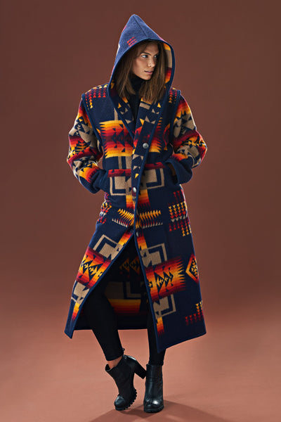 Reversible Long Coat, Chief Joseph Indigo