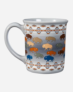 Grey ceramic coffee mug with multi colored bison