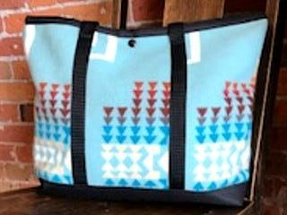 Shopping Bag, Chief Joseph, Aqua, Made with Pendleton® Fabric