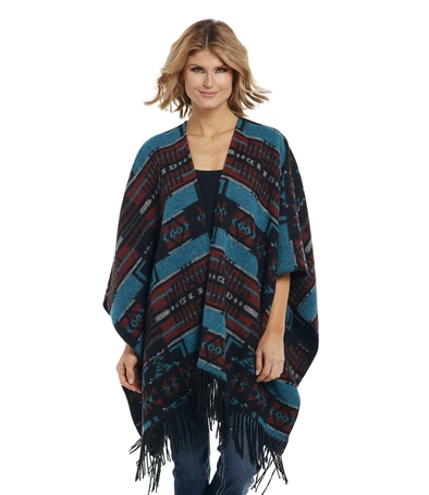 Cripple Creek Navajo Poncho Jacket, Turquoise