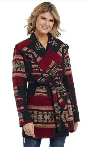 Cripple Creek Tribal Print Wrap Belted Jacket, Black
