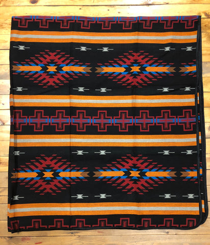 Southwest Tribal Inspired Bedspread, Diamond, Black