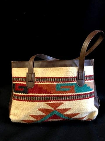 Native Inspired Duffle Purse, Tan & Turquoise
