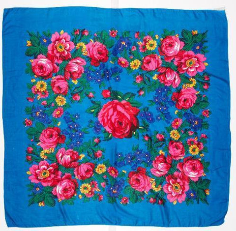 Large Turquoise Floral Scarf