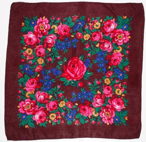 Floral Dance Scarf, Rust