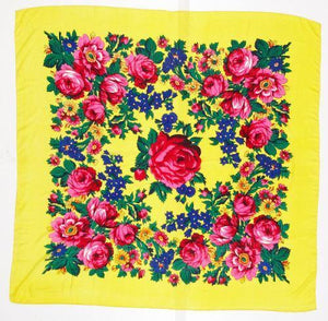 Large Neon Yellow Floral Dance Scarf