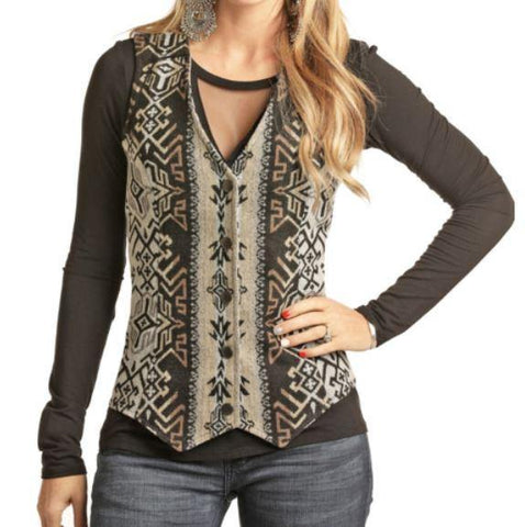 Geometric Panhandle Women's Wool Vest, Black