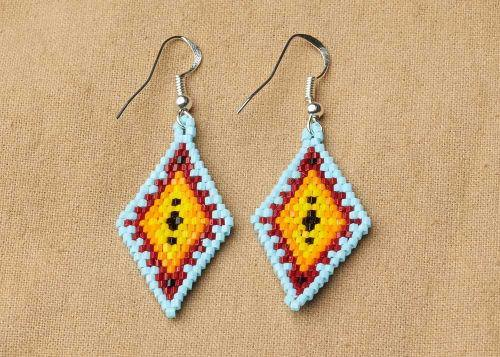Geometric Beaded Diamond Earrings, Aqua