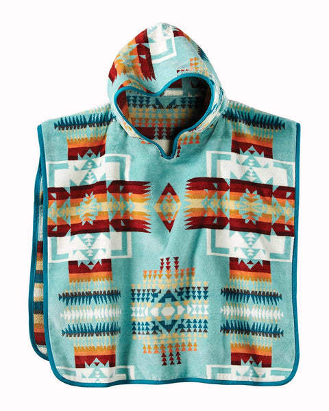 Pendleton Kids Chief Joseph Jacquard Hooded Towel Aqua One Size